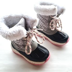 CARTERS baby quilted fur lined winter duck boots